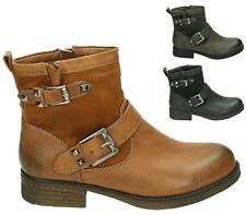 WOMENS COMBAT ARMY MILITARY WORKER BUCKLE STRAP FLAT BIKER ZIP ANKLE BOOTS 3-8