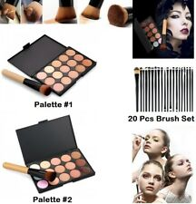 15 Color Contour Face Cream Makeup Concealer Palette +Powder Foundation Brush UK