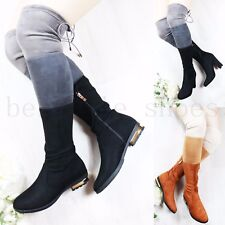 WOMEN LADIES OVER KNEE BOOTS ZIP KNEE HIGH THIGH STRETCH LOW MID HEEL BOOTS SIZE