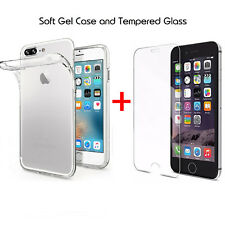 For Apple iPhone 8 Clear Soft Gel Case Cover and Tempered Glass Screen Protector