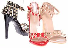 New Women Studded Ankle Strap Pointed Toe Court High Heels Stiletto Sandals 3-8