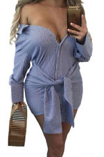 New Sexy Off Shoulder Blue Striped Tie Front Mini Dress Size 8 10 12 14 UK