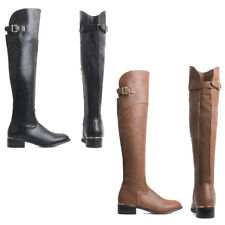 Womens Ladies Leather Knee High Boots Shoes Booties Flat Boots Over Knee Size
