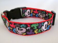 "DOG COLLAR DISNEY MICKEY MOUSE WEBBING BUCKLE RED BLUE 1"" WEBBING HANDMADE"