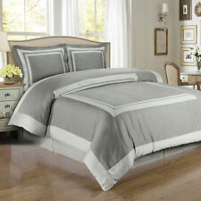 Luxury Grey & Light Grey Combed Cotton Hotel Duvet Cover Bedding Set - ALL SIZES