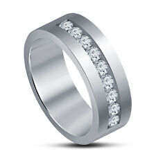 Attractive Simple Women's Band Ring White Platinum Plated 925 Silver RD White CZ