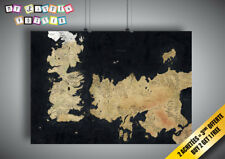 Poster GAME OF THRONES SEVEN couronnes SEVEN KINGDOMS of WESTEROS Map Maps