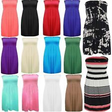 Womens Ladies Plus Size Sheering Boobtube Bandeau Strapless Top Vest Dress 8 22