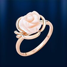 Russische Rose Gold 585 Ring mit Korall Rosa Blume Toller Ring!!