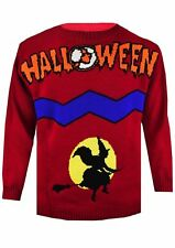 Unisex Ladies Mens Halloween Special Flying Wizard Knitted Sweater Jumper UK TOP