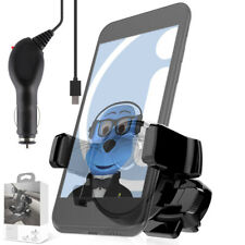 In Car AUTO GRIP Air Vent Holder & Car Charger For Alcatel One Touch 606 Chat