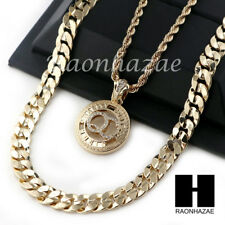 """MEN Iced QC ROPE CHAIN DIAMOND CUT 30"""" CUBAN LINK CHAIN NECKLACE SET SS03G"""