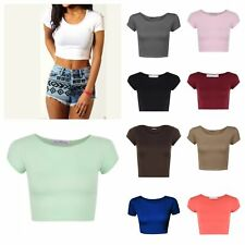 Womens Ladies Short Sleeve Crop Top T-Shirt Vest Round Neck Stretch Plain