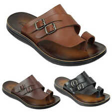 Mens Genuine Leather Sandals Double Buckle Walking Beach Slippers Black Brown