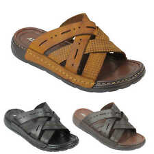 Mens Soft Real Leather Sandals Cross Straps Open Toe Beach Slippers Black Brown