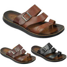 Mens Genuine Leather Sandals Adjustable Top Strap Buckle Walking Beach Slippers