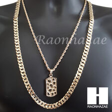 """Iced NUGGET DOG TAG ROPE CHAIN DIAMOND CUT 30"""" CUBAN LINK CHAIN NECKLACE S59"""