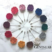 Beautiful Flower Floral Lapel Pin Brooch - MANY COLOURS - For Men or Women