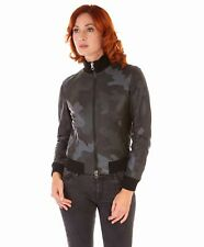 Giacca in pelle donna G155 • colore verde militare • Bomber in pelle nappa effet