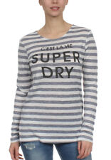 Superdry manga larga women NÁUTICO Step Dobladillo Black crudo Twist Tiras