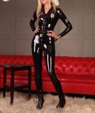 Pure Latex Catsuit Police uniform bodysuits rubber clothing for women