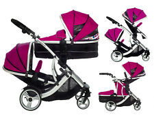 Duellette CBBS double twin Pushchair pram travel system Tandem car seat stroller