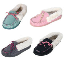 Ladies Suede Moccasin Slippers with Soft Faux Fur Lining, Cuff & Colourful Laces