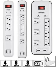 4 6 8 Outlet Surge Protector Power Strip Home/Office w/ 2x USB & 4FT CORD