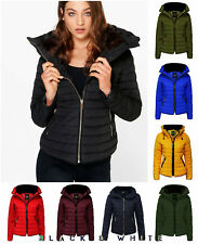 Ladies Puffer Bubble Quilted Hooded Fur Collar Warm Thick Women Jacket Coat