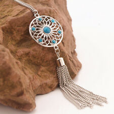 Dreamcatcher Pendant Necklace Silvertone Turquoise Beads Chain Tassels UK Seller