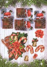 FEUILLE 3D NOEL PERE NOEL CHEMINEE POINSETTIA 2 CARTES.DECOUPAGE PAPER CHRISTMAS