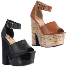 NEW WOMENS PEEP TOE LADIES ANKLE STRAP PLATFORM BLOCK WEDGE HEEL SHOES SIZE 3-8