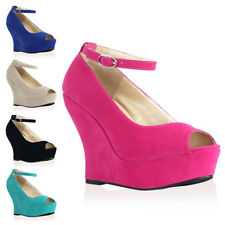WOMENS FAUX SUEDE LADIES PEEP TOE ANKLE STRAP WEDGE HEEL SANDALS SHOES SIZE 3-8