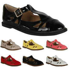 WOMENS TBAR FLAT BUCKLED CUT OUT LADIES GEEK BROGUE PUMPS SANDALS SHOES SIZE 3-8