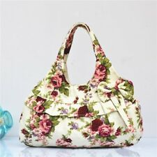New Women Lady Sweet Floral Flower Leopard Print Canvas Bowknot Handbag Bag