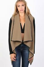 Contrast Long Sleeve Wrap Over Jacket in Camel Brown
