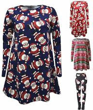 Christmas Ladies Xmas Santa Snowman Womens Reindeer Print Flared Swing Dress