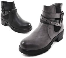 WOMENS WORKER ELASTIC COMBAT BIKER MILITARY GRIP SOLE ZIP ANKLE BOOTS SHOES SIZE