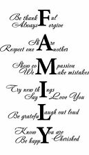 FAMILY LOVE LIFE Vinyl Wall Art Sticker Quote Room Decal Mural Transfer black