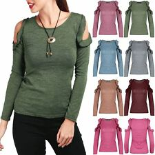 Womens Ladies Marl Knitted Cold Cut Out Shoulder Peplum Ruffle Frill T Shirt Top