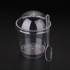 Summer Disposable Smoothie Cup Lid Spoon For Slush Milkshake Glasses Party Juice