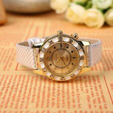 Lady Women's Quartz Watches Crystal Swan Pendant Leather Wristwatch Bracelet