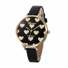 Geneva Women Love Heart Printed Watch Leather Crystal Analog Quartz New