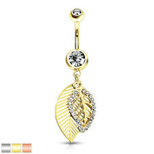 Navel Piercing Banana Bell Stainless Steel Surgical Leaves with Zirconia and