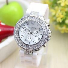 Women's Casual Geneva Diamante Silicone Band Unisex Sports Watch Quartz Watches