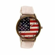 American Flags Pattern Dial PU Leather Strap Watch Analog Quartz Wristwatch