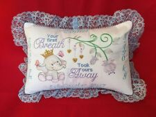 PERSONALISED EMBROIDERED BABY ANNOUNCEMENT CUSHION/PILLOW. Ellie Elephant