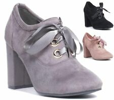 WOMENS LADIES HIGH BLOCK HEEL FAUX SUEDE PARTY ANKLE BOOTS CASUAL SHOES SIZE