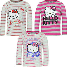 NEUF haut à manches longues chemise fille pull Hello Kitty rayé 98 104 116 128