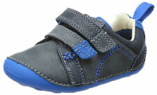 Clarks Tiny Soft Infant Kids UK 2 G & H Blue Combi Leather Prewalker First Shoes